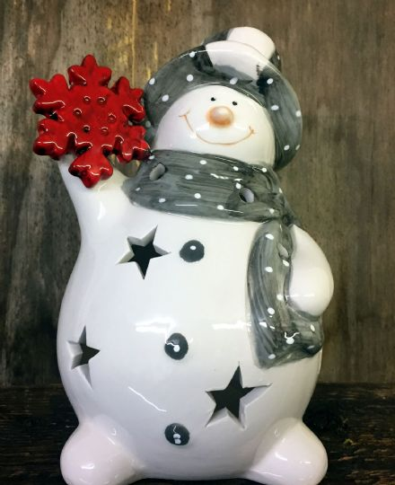 Grey & White Large Fat Ceramic Snowman Christmas Tea Light Holder
